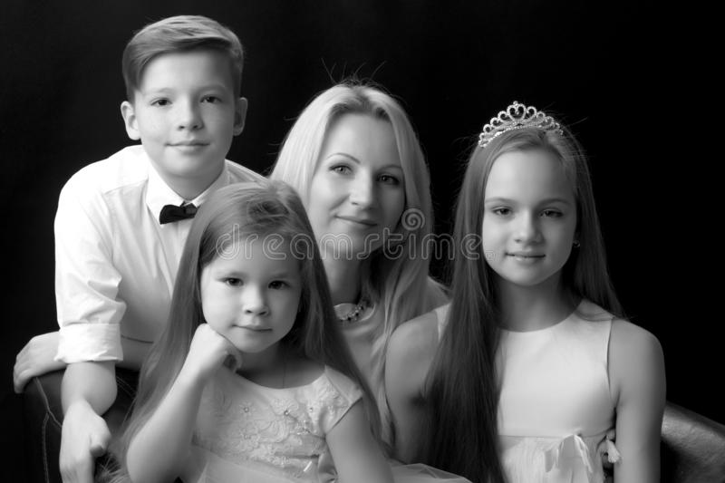 A big happy family with children. royalty free stock photo