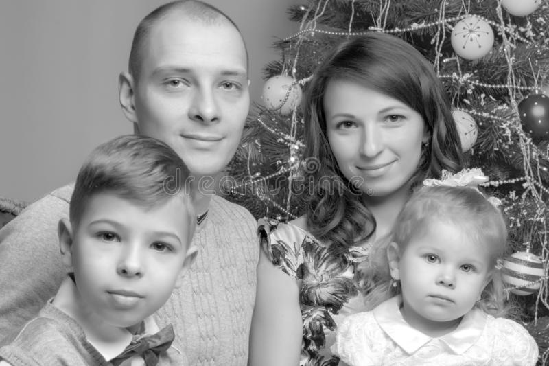 Big happy family with children near the Christmas tree. royalty free stock photos