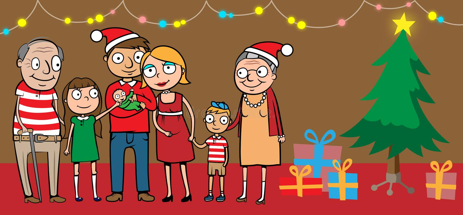 Big happy family by christmas tree. Cartoon vector illustration of big happy family celebrating at home by christmas tree with presents stock illustration