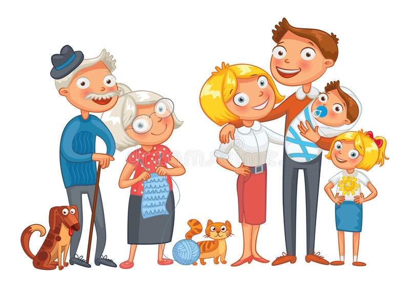 Big happy family. Consisting of a father, mother, daughter, son, grandparents and two pets, posing together. Funny cartoon character. Vector illustration stock illustration