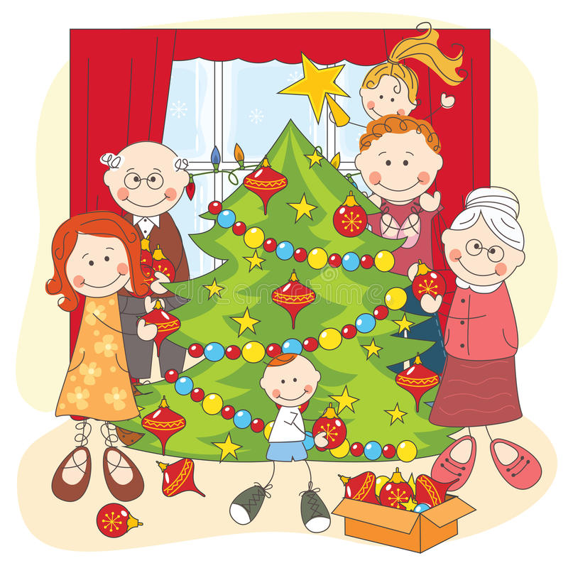 The big happy family dress up a Christmas tree. Hand drawing illustration royalty free illustration