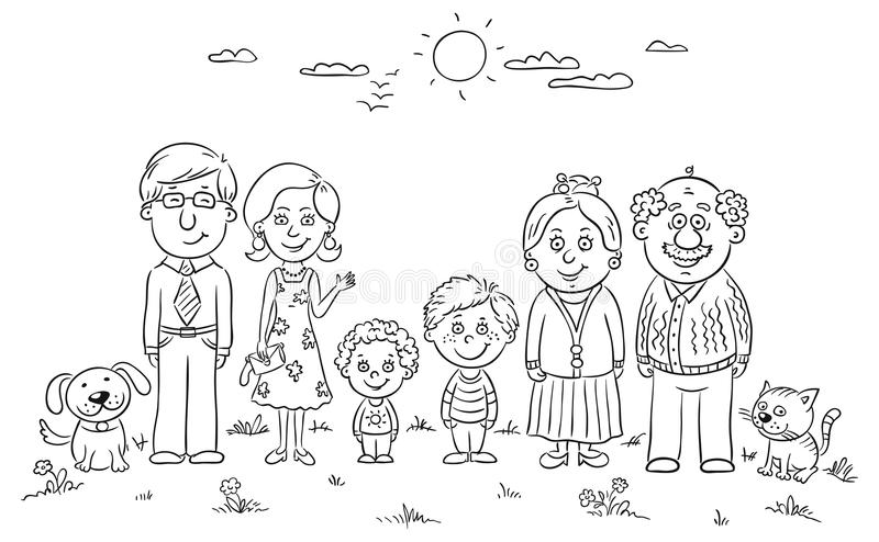 Big happy family. Outdoors, black and white vector illustration