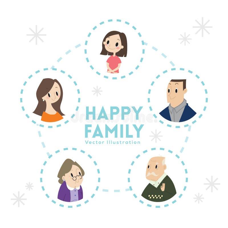 Big happy family portrait cartoon illustration royalty free illustration