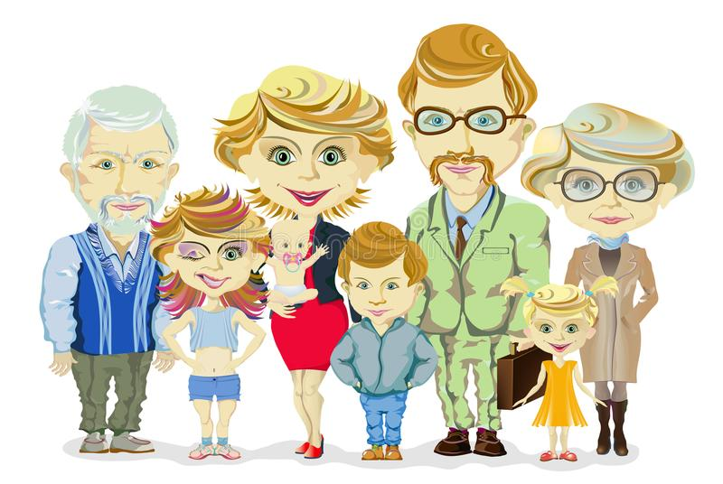 Big and happy family portrait with children, parents, grandparents vector stock illustration