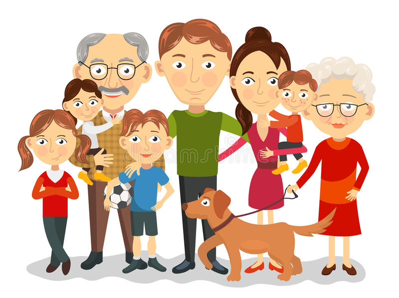 Big And Happy Family Portrait With Children, Parents ... Grandparents Family Clipart