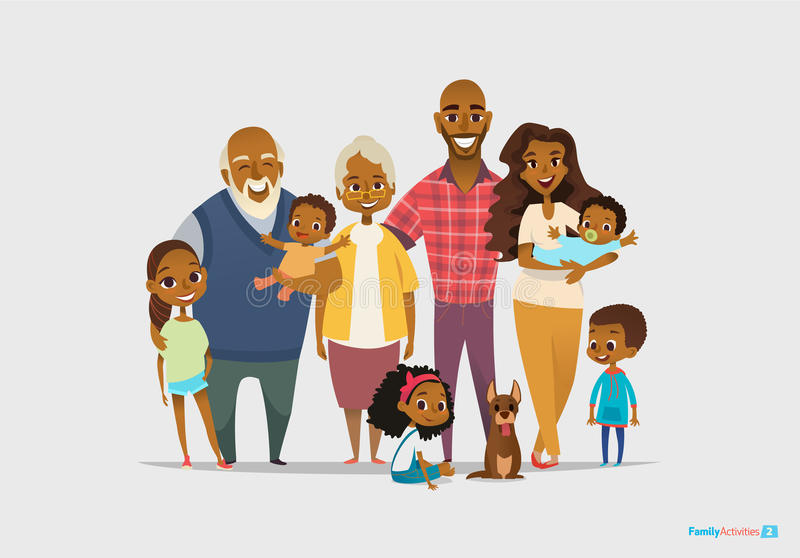 Big happy family portrait. Three generations - grandparents, parents. And children of different age together. Smiling cartoon characters. Vector illustration royalty free illustration