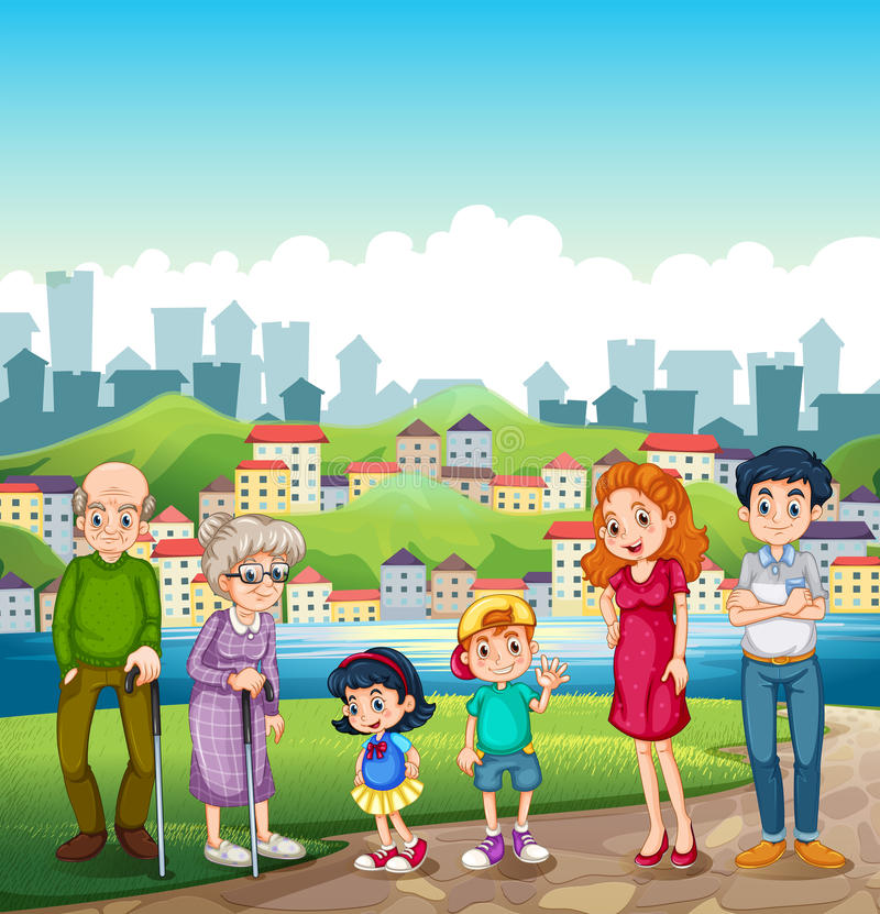 A big happy family standing at the riverbank across the village. Illustration of a big happy family standing at the riverbank across the village vector illustration