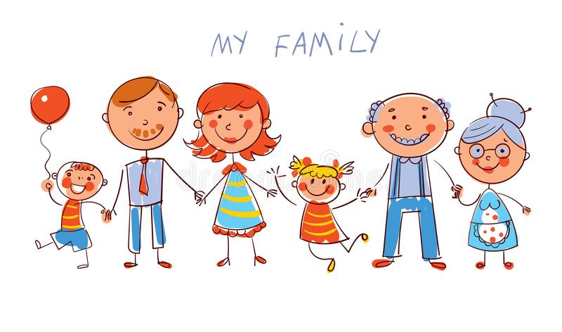Big happy family. In the style of children`s drawings. Big happy family consisting of a father, mother, daughter, son, grandparents posing together. In the style royalty free illustration