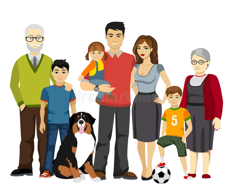Big and Happy Family vector illustration. Isolated vector illustration