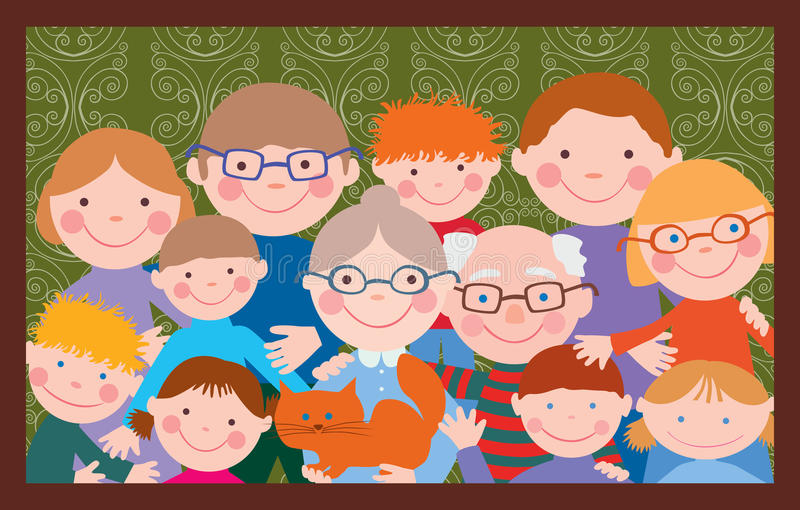 Big happy family. Vector image of the big friendly family royalty free illustration