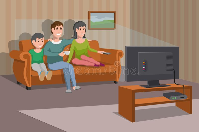 Big happy family watching TV on sofa. Man with coffee cup. Evening watching television series. Interior of the room with TV stock illustration