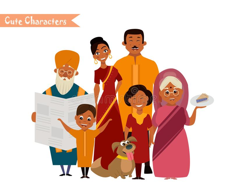 Big happy indian family. In national dress isolated vector illustration. Parents, grandparents and children cartoon characters. Family generations standing vector illustration
