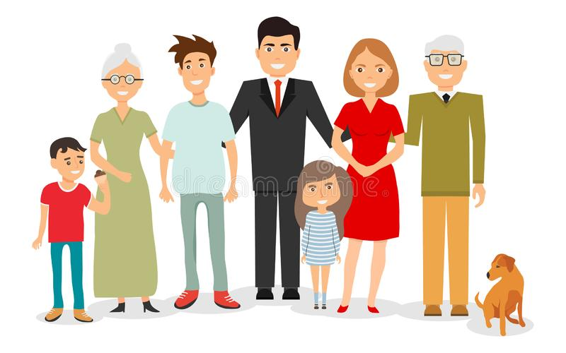 Big, happy, smiling family portrait. Big family portrait. Vector people. Mother and father with babies, children. And grandparents stock illustration