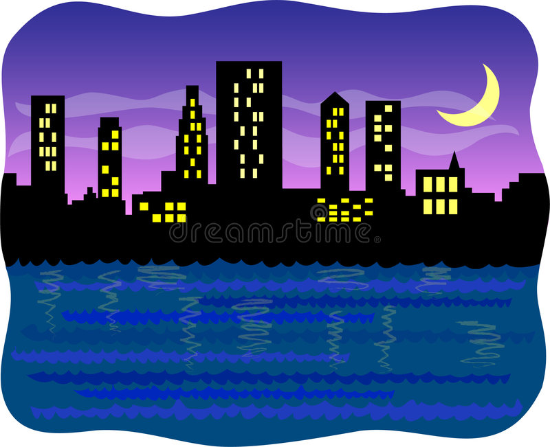 Big Harbor City At Night/eps Royalty Free Stock Photo