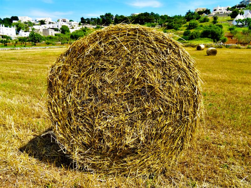 Big haystack. On a beautiful Mediterranean landscape stock photography