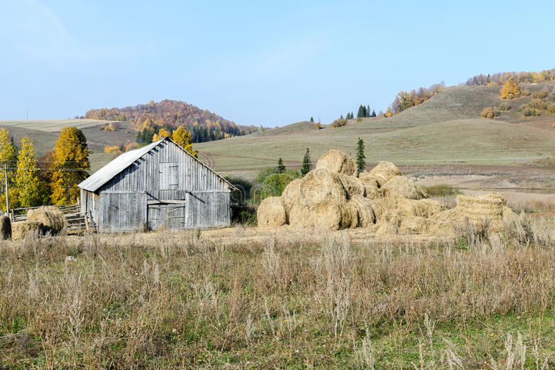 Big haystack near an old wooden shed against hills and the wood. Big haystack near a shed against hills and the wood stock photo