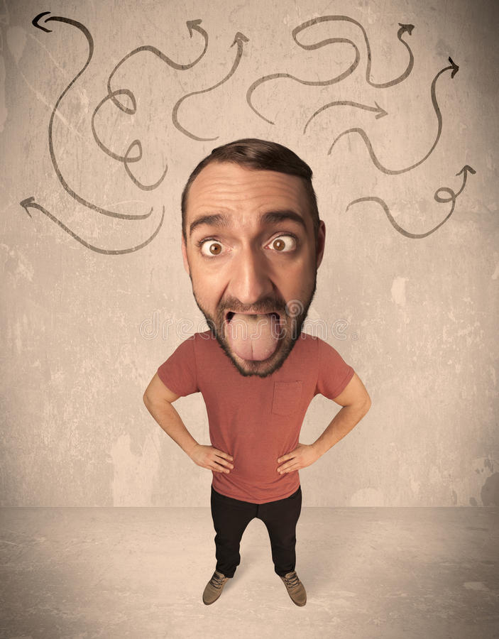 Big head person with arrows. Funny guy with big head and drawn arrows over it stock photo