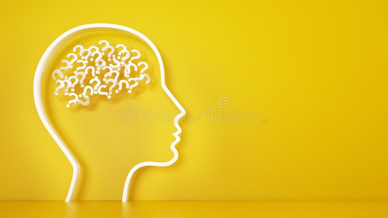 Big head with question marks inside brain on a yellow background. 3D Rendering royalty free stock photos