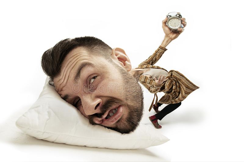 Big head on small body lying on the pillow royalty free illustration