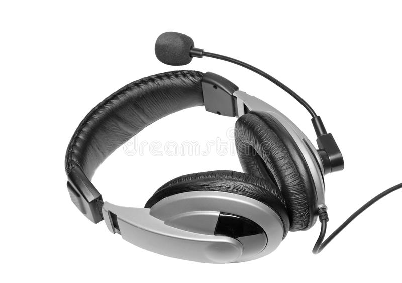 Big headset with a microphone. Isolated royalty free stock photos