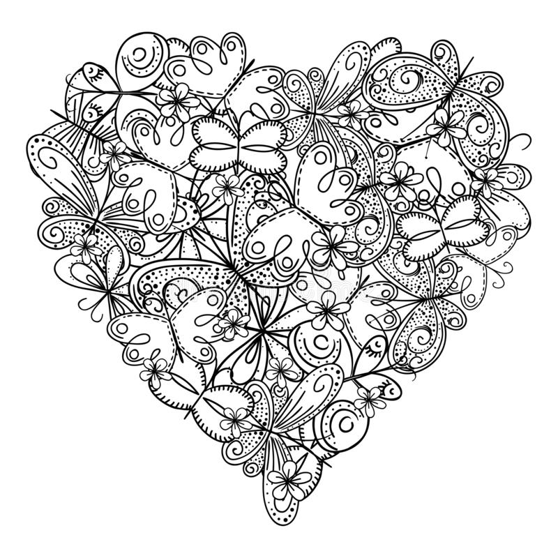 Big heart of butterflies for coloring book. Mothers day holidays design. Valentines day heart. Hand-drawn decorative elements. vector illustration