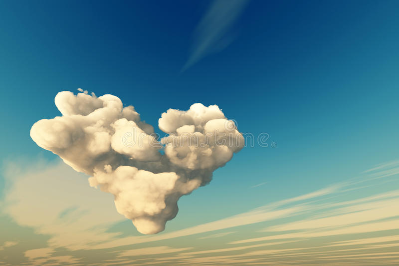 Download Big heart cloud in sky stock illustration. Image of cloudscape - 32597717