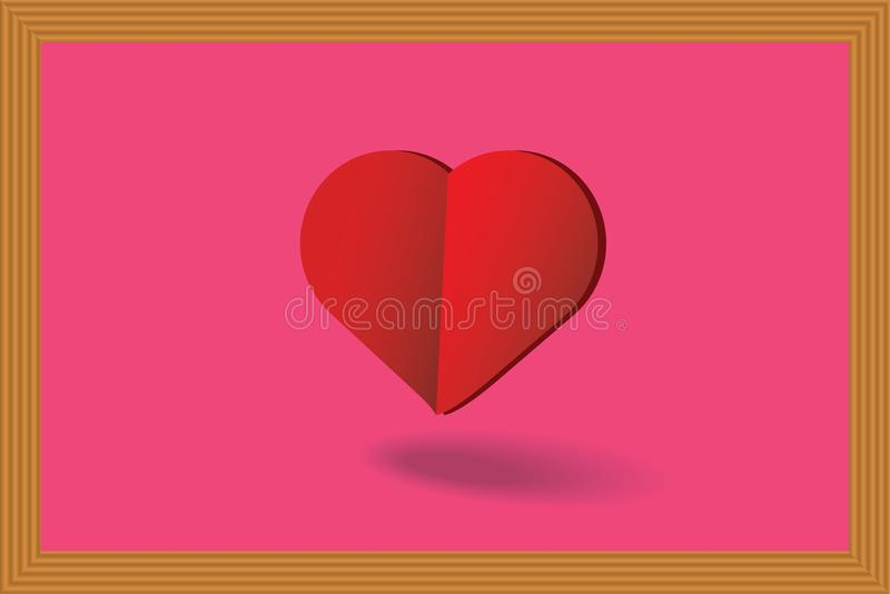 Big heart in the frame and show the love. royalty free illustration