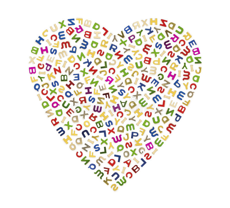 A big heart of letters stock illustration