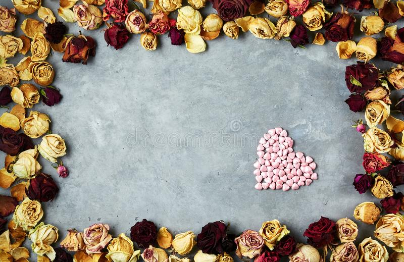Big Heart Of Little Decorative Hearts In Frame From Dried Roses Buds ...