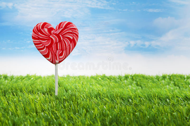 Big Heart Lollipop Horizontal Stock Images
