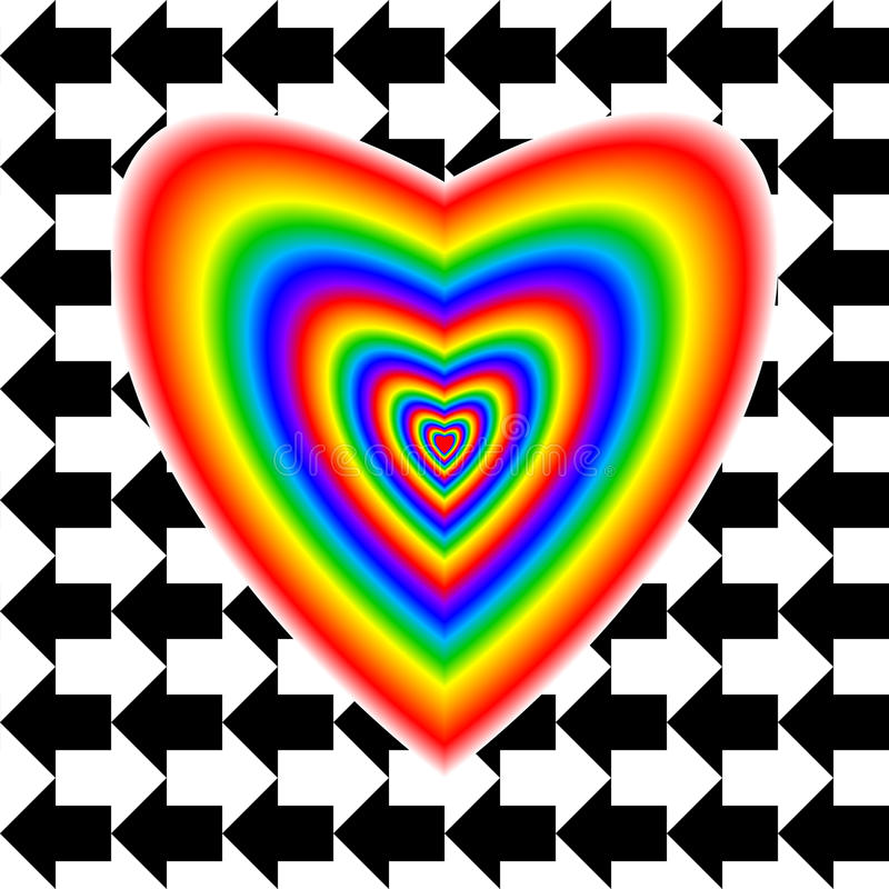 Big heart in rainbow colors and arrows vector illustration
