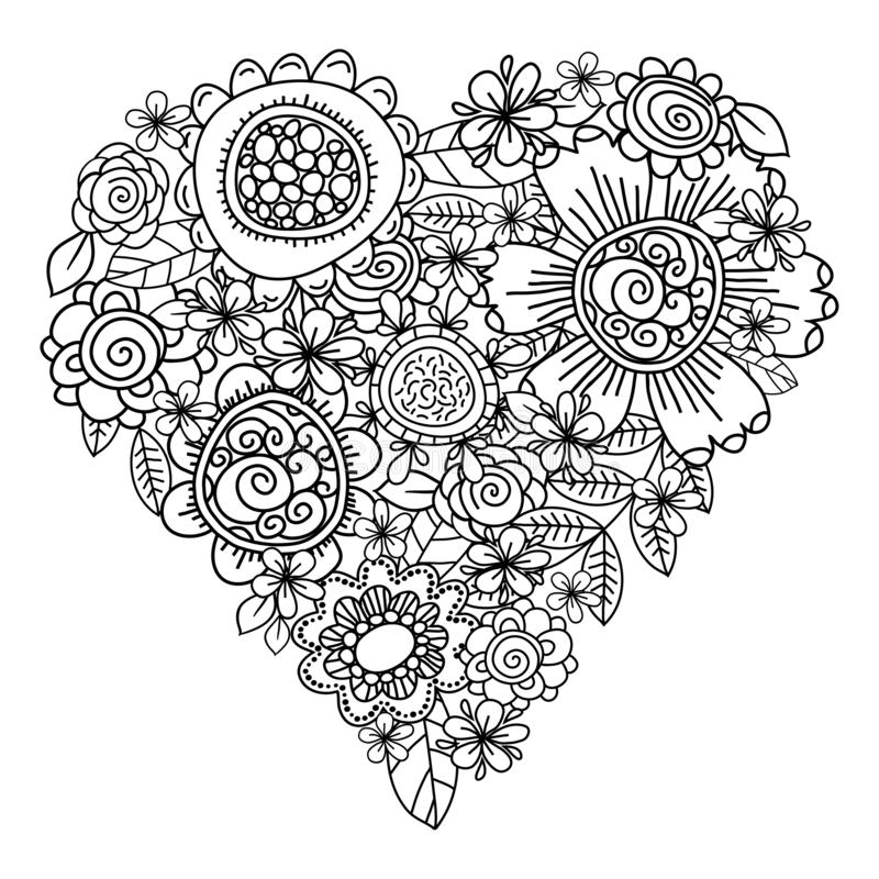 Big heart of spring flowers for coloring book. Mothers day holidays design. Valentines day heart. Hand-drawn decorative elements vector illustration