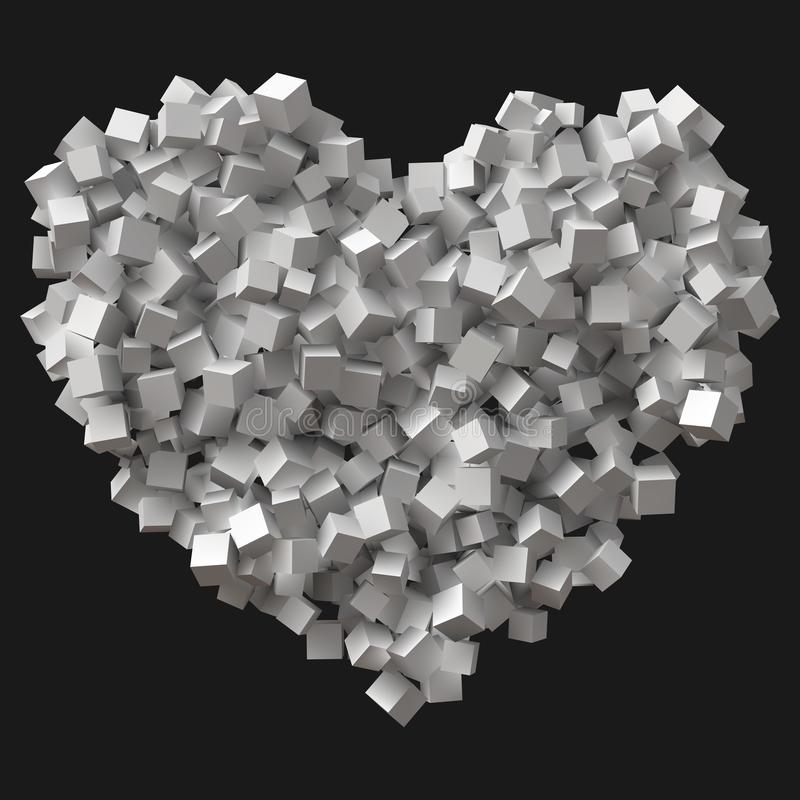 Big heart symbol formed by random cubes vector illustration