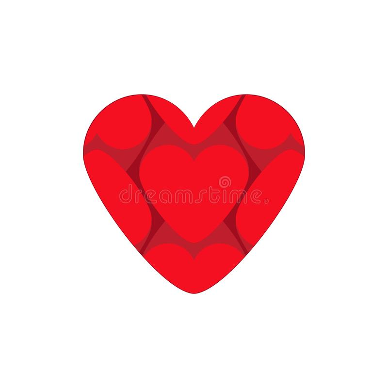 Big heart vector icon composed of small hearts isolated on white . Love concept. Big heart vector icon composed of small hearts isolated on white background stock illustration