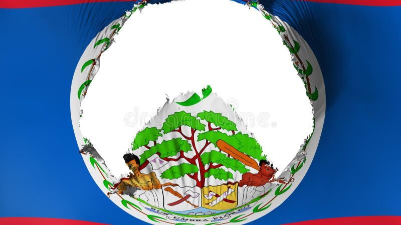 Big hole in Belize flag. White background, 3d rendering stock illustration