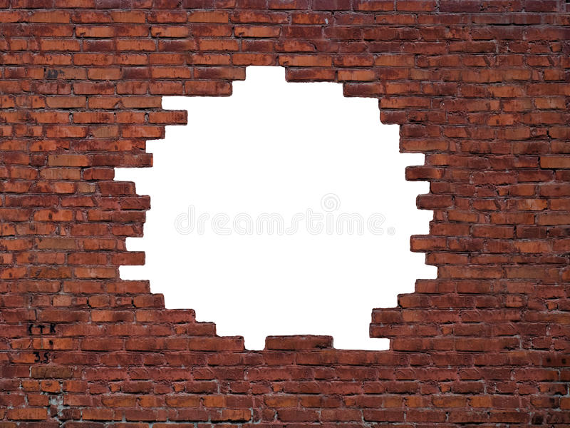 Big hole in the brick wall royalty free stock photography