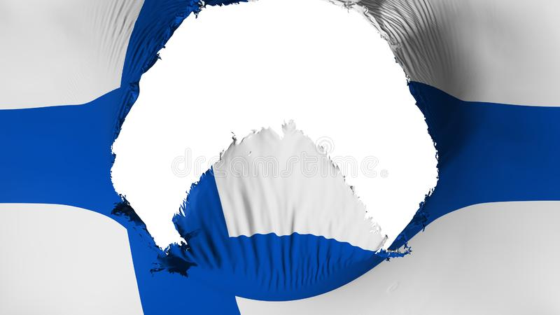 Big hole in Finland flag. White background, 3d rendering vector illustration