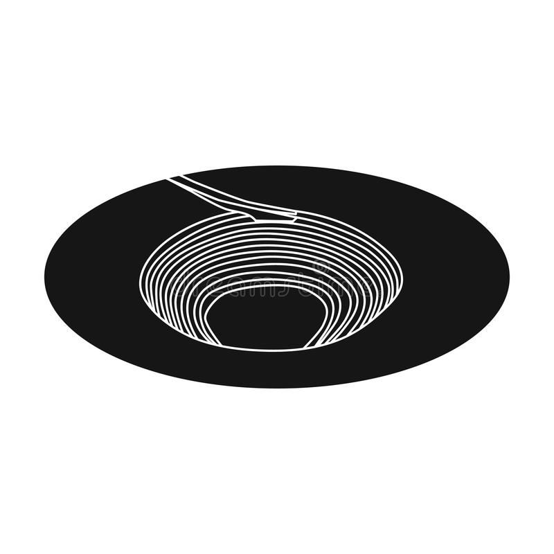 A big hole in the ground.The pit for the excavation of minerals.Mine Industry single icon in black style vector symbol royalty free illustration
