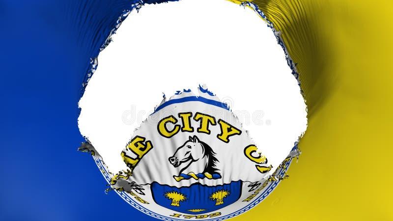 Big hole in Trenton capital city flag. Big hole in Trenton city, capital of New Jersey state flag, white background, 3d rendering stock illustration