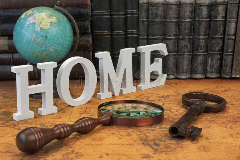 Big home sign among different objects and books on map stock image download big home sign among different objects and books on map stock image image of gumiabroncs Image collections