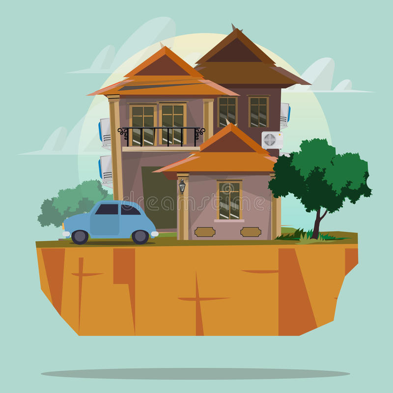 Big house with car. property concept -. Illustration stock illustration
