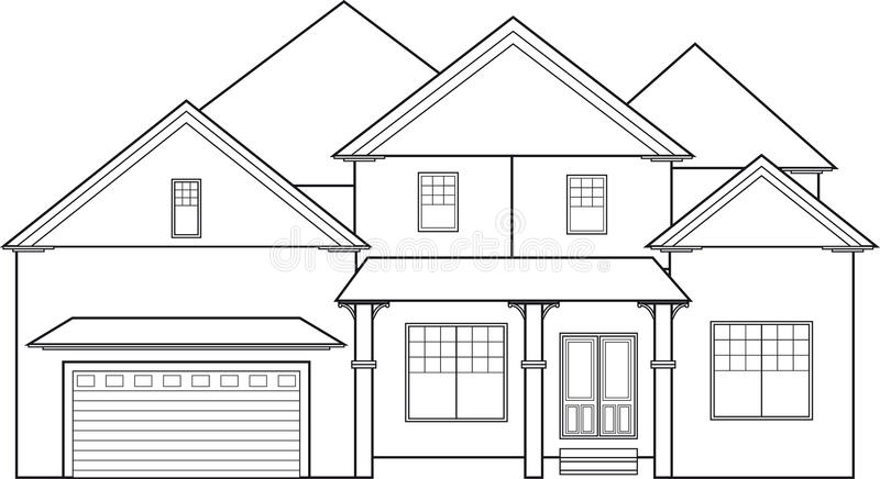 Line Drawing House Image : Big house stock vector illustration of outline