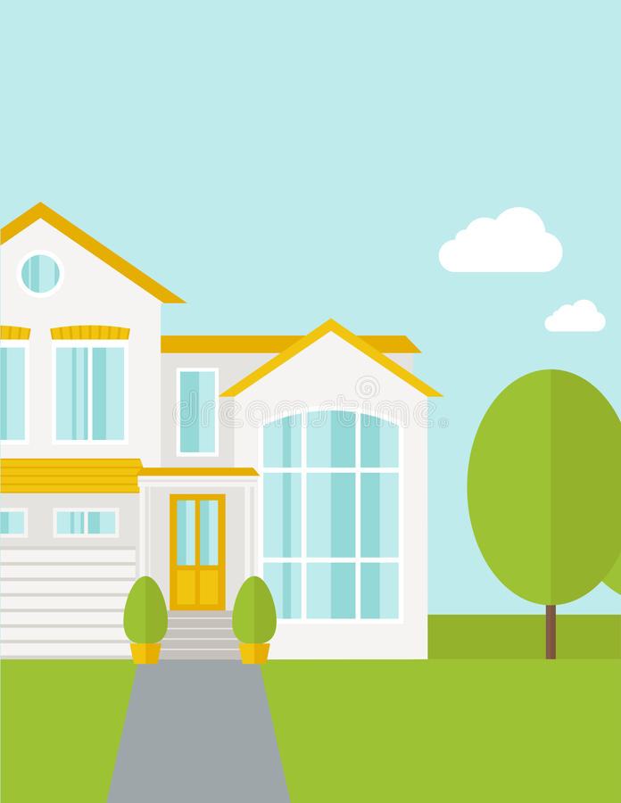 Big house with trees vector illustration