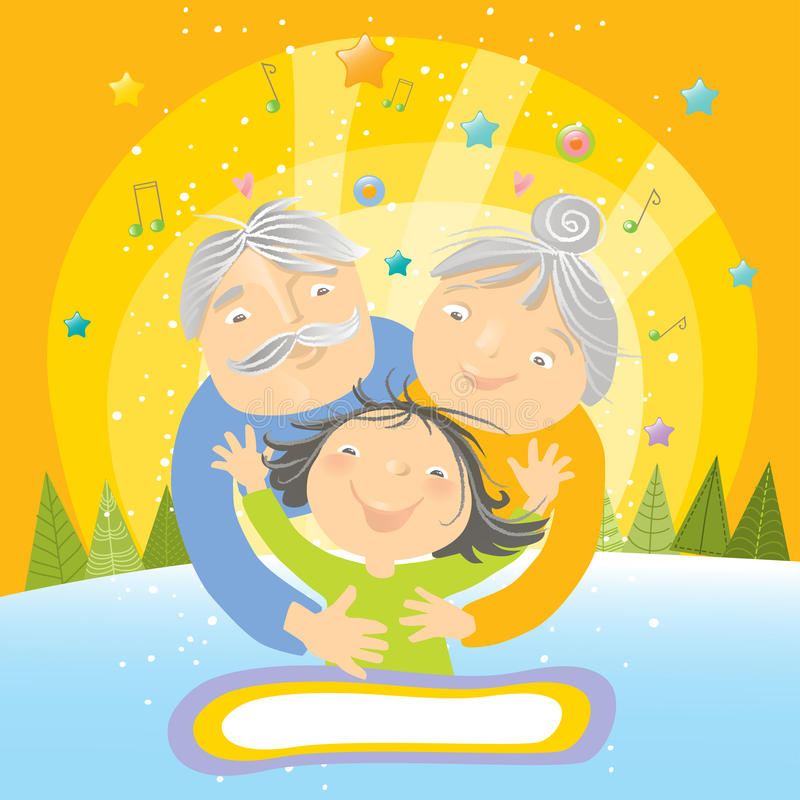 Big hug for grandparents. Happy grandchild embracing grandparents, vector holiday greeting card stock illustration