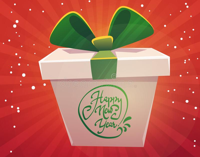 Big huge gift box wish happy new year present greeting, classic red green , white christmas colors , bow with shiny ribbon , carto stock illustration