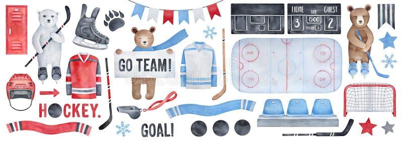 Big Ice Hockey Set, clipart collection. stock illustration