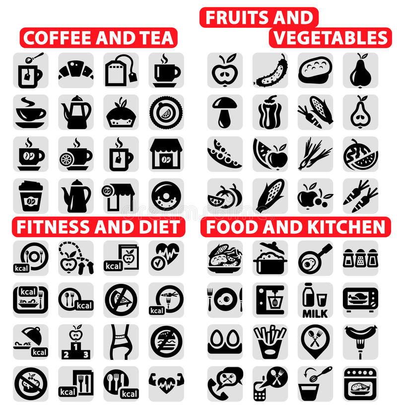 Download Big icons set stock vector. Image of carrot, drink, exercise - 31509122