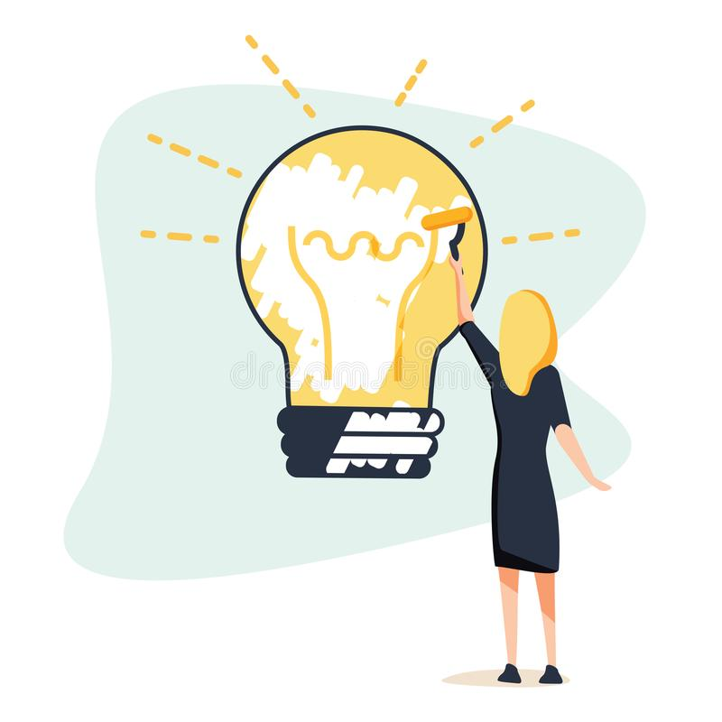 Big idea concept. Business woman draws large light bulb on wall. Symbol of new discoveries and startap. Web template. Vector illustration flat design. Isolated royalty free illustration