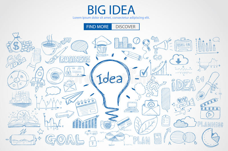 Big Idea concept with Doodle design style. Background stock illustration