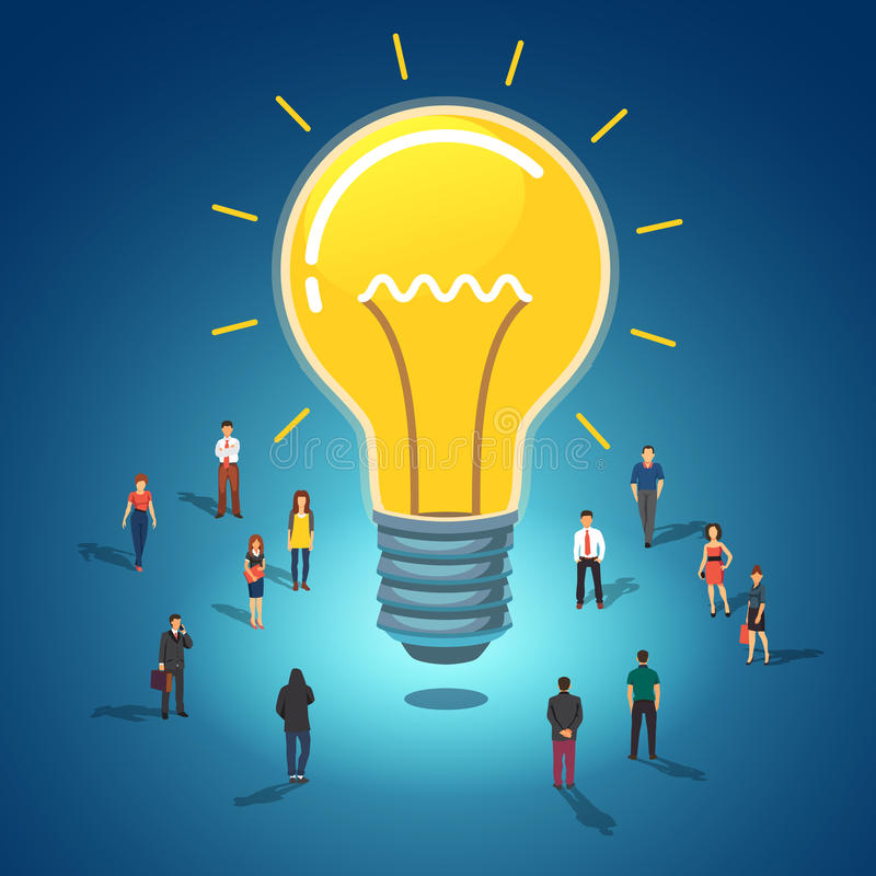 Big idea concept. Huge glowing lightbulb surrounded by group of people. Flat style vector illustration on white background royalty free illustration